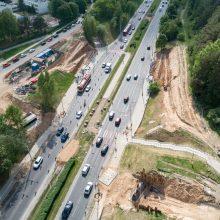 Prasideda T. Narbuto g. viaduko sijų montavimas <span style=color:red;>(bus eismo pakeitimų)</span>