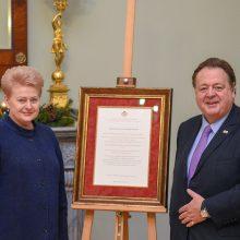 D. Grybauskaitei – asmeninė Maltos ordino didžiojo magistro padėka