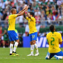Brazilijos futbolininkai žengė į pasaulio čempionato ketvirtfinalį
