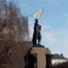 Performansas Kaune nepaliko abejingų: nuo paminklo staltiesę nukabino ugniagesiai