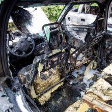 Kaune supleškėjo šalia stovėję du automobiliai, įtariamas padegimas