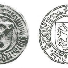 Kauno miesto herbinis antspaudas, naudotas įvairiais laikotarpiais – <span style=color:red;>(iš kairės)</span> 1471–1488 m., 1493–1533 m., 1540–1548 m.