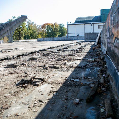 Darbo inspekcijos vizitas rekonstruojamame Kauno stadione  © Vilmanto Raupelio nuotr.