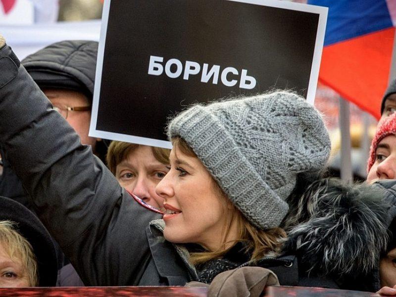 Maskvos centre užpulta kandidatė į Rusijos prezidentus K. Sobčiak