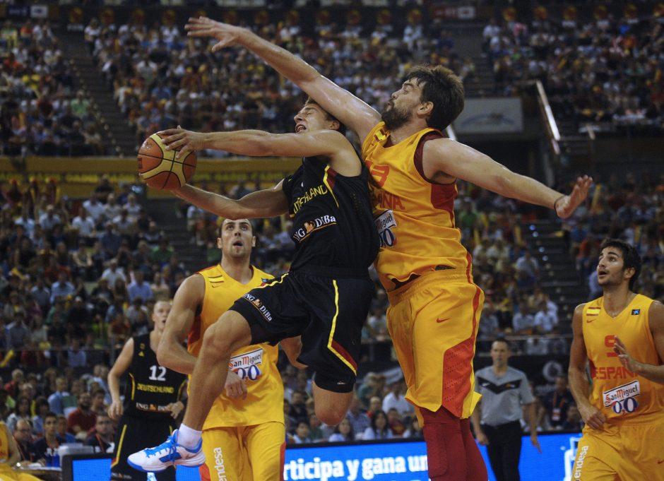 Europos čempionė Ispanijos vyrų krepšinio rinktinė kontroliniame mače sutriuškino Vokietijos krepšininkus
