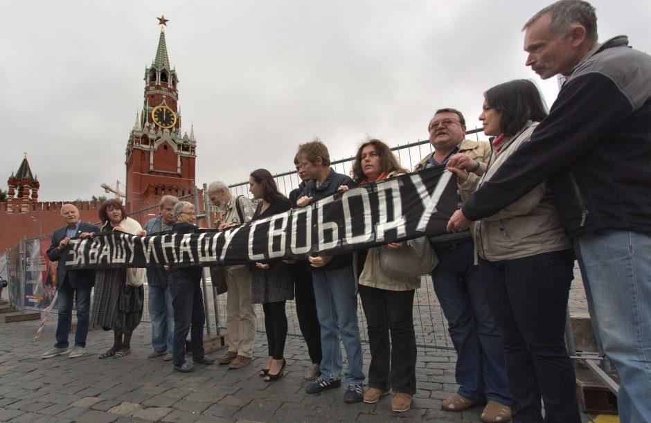 """Rusijoje areštuota 10 aktyvistų, minėjusių """"Prahos pavasario"""" demonstraciją"""