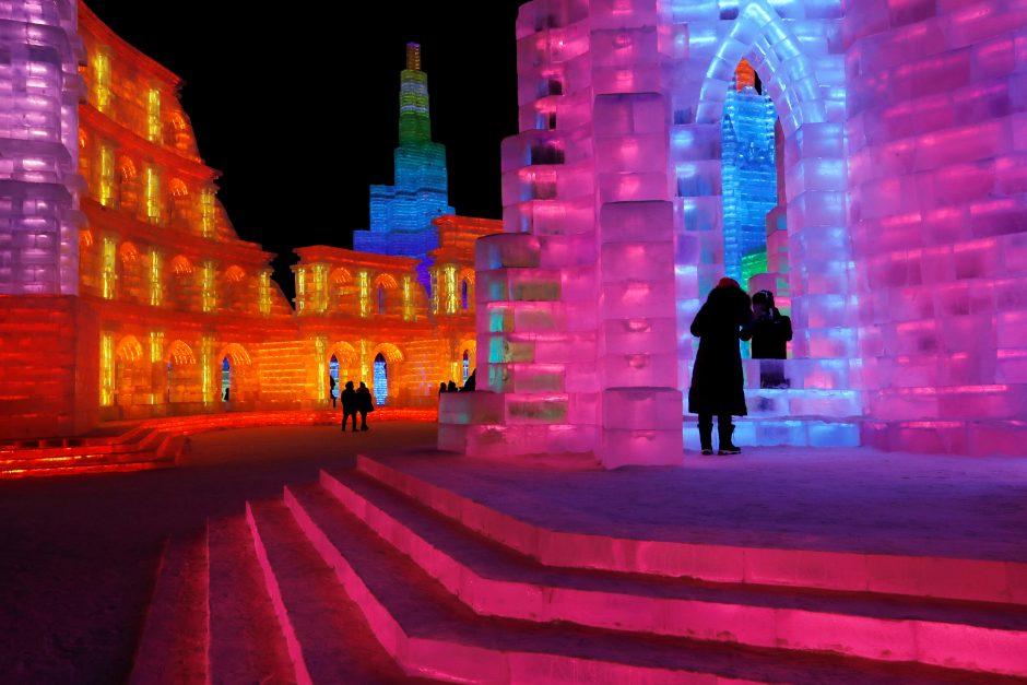 Tradicinis ledo ir sniego skulptūrų festivalis Kinijoje