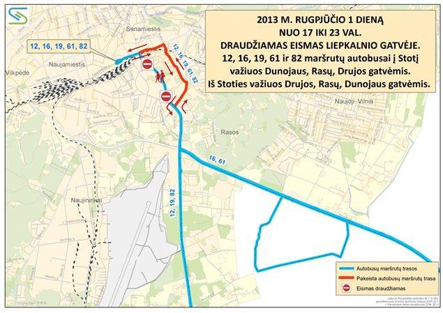 Ketvirtadienį Vilniuje keisis viešojo transporto ir automobilių eismo organizavimas