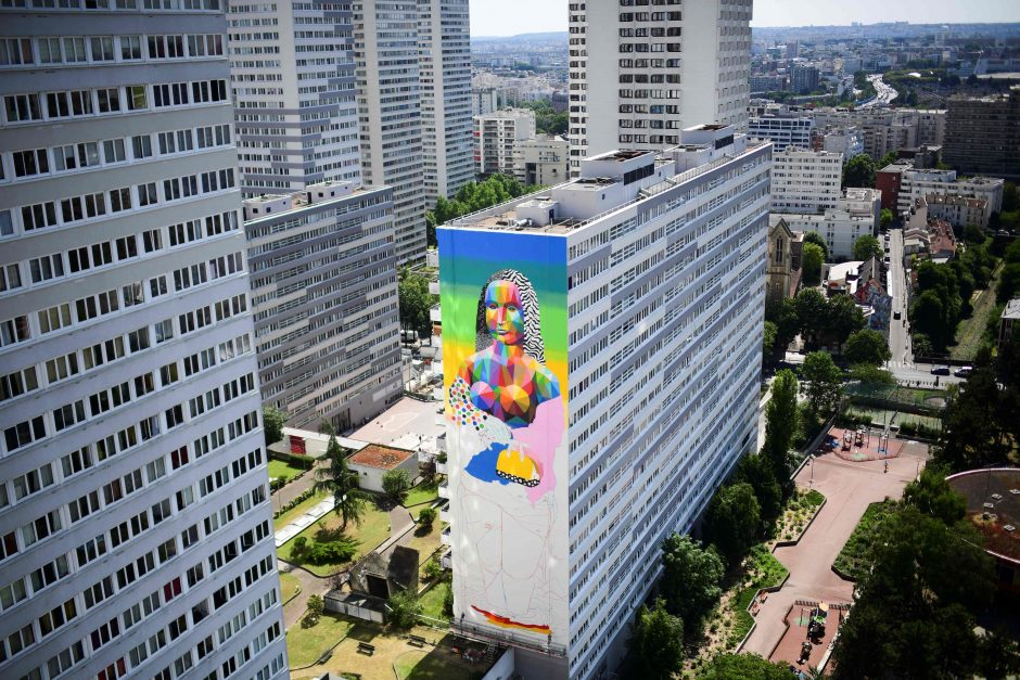 Paryžiaus daugiabutį papuošė Mona Liza