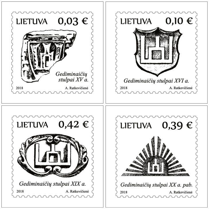 Pirmieji 2018 metų pašto ženklai – su Gediminaičių stulpais