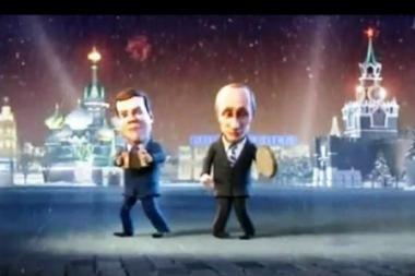 D.Medvedevas ir V.Putinas naujametiniame klipe šoko ir dainavo