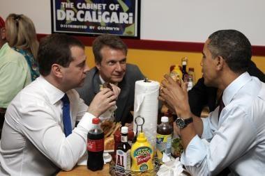 B.Obama nusivedė D.Medvedevą pavalgyti mėsainių