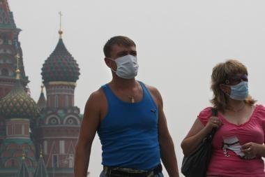 Smogas virš Rusijos sostinės dar sutirštėjo
