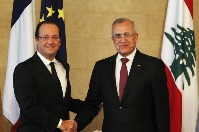 Prancūzijos prezidentas atvyko į Beirutą susitikti su Sleimanu