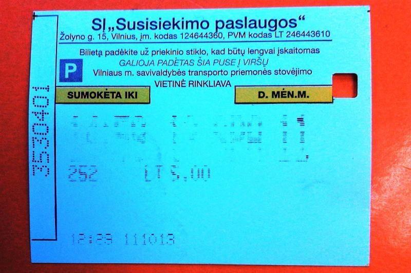 Vilniuje platinami tušti parkavimo bilietai?