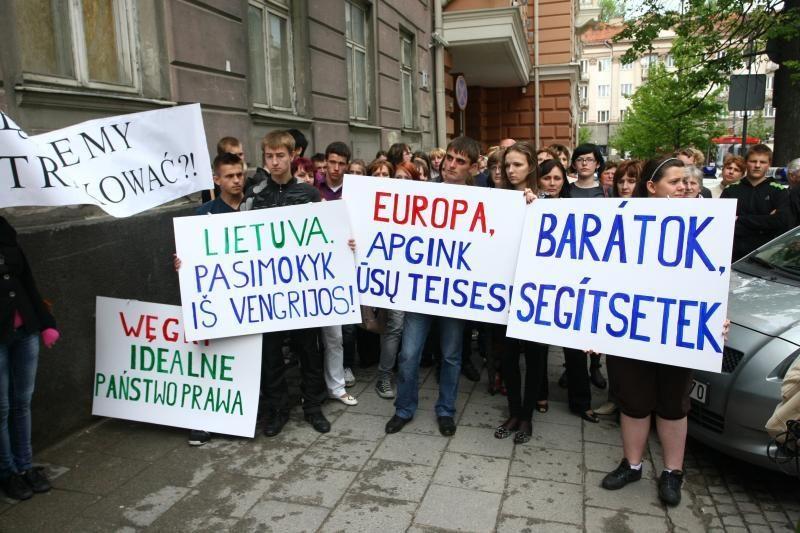 Prie JAV ambasados protestavo apie 100 tautinių mažumų atstovų