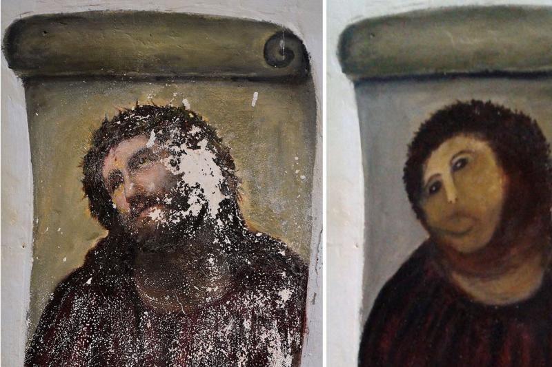 """Ispanijoje žmonės plūsta pasižiūrėti """"restauruoto"""" Kristaus paveikslo"""