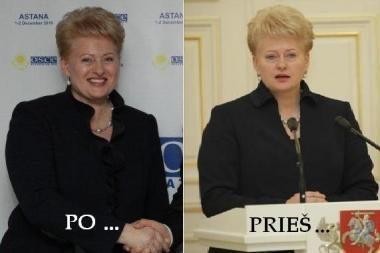 Prieš kelionę į Kazachstaną D.Grybauskaitė apsikirpo