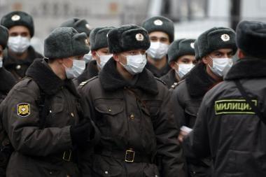 Maskvoje per nesankcionuotą mitingą futbolo aistruoliai susirėmė su milicija