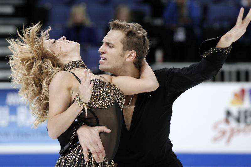 Čiuožėjai I.Tobias ir D.Stagniūnas po trumpojo šokio penkti