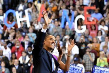 B.Obama įveikė savo varžovę H.Clinton