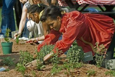 Jungtinių Valstijų prezidento žmona plušėjo darže