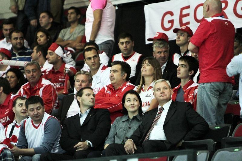 Gruzijos prezidentas iš oro uosto atlėkė į Klaipėdos areną