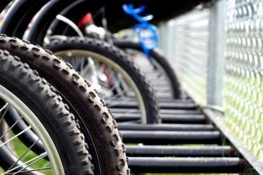 Palangoje - kritinė dviratininkų masėje