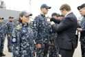 """Ceremonija: iškilmingai sutikti tarptautinėje misijoje """"Sophia"""" dalyvavę kariai."""