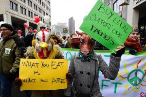 Lietuvos pieno gamintojai protestuoja Briuselyje