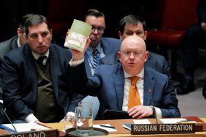 Rusija per JT posėdį griežtai kritikavo Britaniją