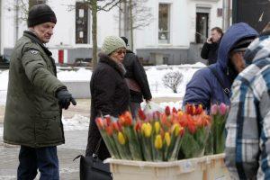 Prekiautojai gėlėmis šalčių nebijo