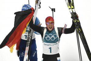 Vokietijos biatlonininkė Pjongčango žaidynėse iškovojo antrąjį aukso medalį