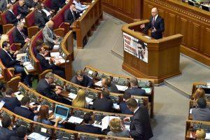 """Ukrainos parlamento valdančiąją koaliciją palieka """"Samopomič"""""""