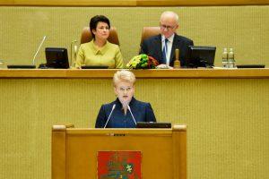 Prezidentė: šis Seimas gali padėti pamatą naujam valstybės raidos etapui