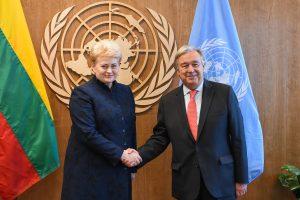 "Prezidentė su JT vadovu aptarė pratybų ""Zapad"" grėsmę"