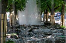 Fontanas Laisvės alėjoje: darbininkai prakirto vamzdį