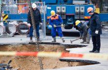 Vilniuje – vandentiekio avarija: trūko vamzdis, patvino Upės gatvė