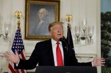 Gausiai sningant, D. Trumpas skundžiasi, kad JAV trūksta visuotinio atšilimo