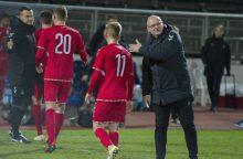 Futbolininkai Vokietijoje išbandė dvi sudėtis ir šlifavo gynybą