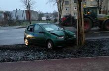 """Savanorių prospekte """"Fiat"""" rėžėsi į medį, vairuotojas ligoninėje"""
