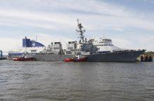 Atplukdytas naujai įsigytas kariuomenės patrulinis laivas