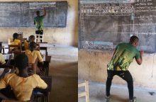 Mokytojas tapo žvaigžde: informatikos mokė piešiniais klasės lentoje