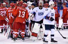 Rusijos ledo ritulininkai Pjongčange nugalėjo amerikiečius