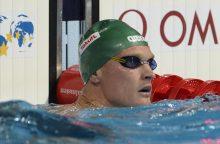 Lietuvos rekordą pakartojęs plaukikas M. Sadauskas pateko į pusfinalį